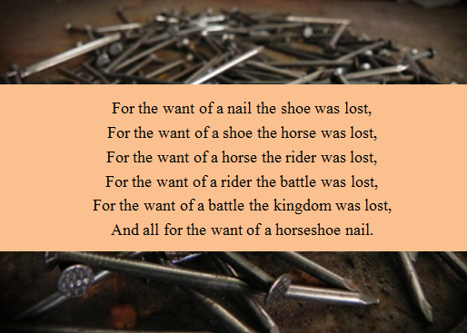 Parable - for the want of a horseshoe nail, a kingdom was lost