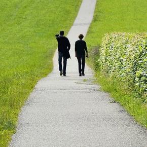 Employees, walking away