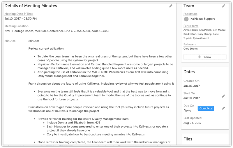 NMHS Meeting Minutes