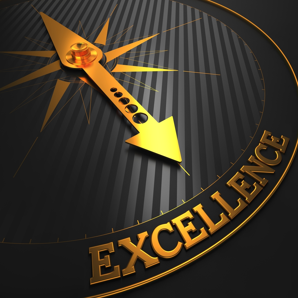 """Excellence - Business Background. Golden Compass Needle on a Black Field Pointing to the Word """"Excellence"""". 3D Render.-1"""