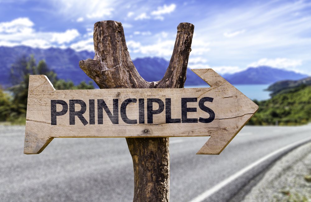 Principles wooden sign with a highway on background