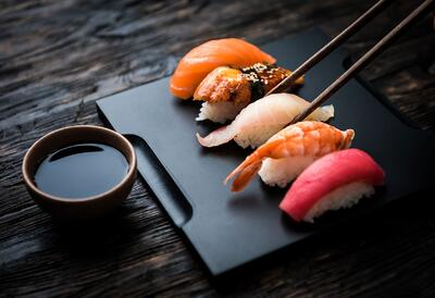 Beautiful plate of sushi.