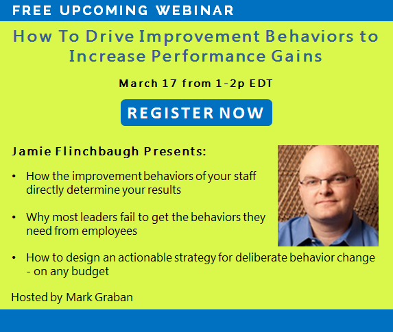 Webinar signup: How to drive improvement behaviors to increase performance gains