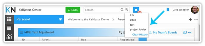 Clear Search History in KaiNexus