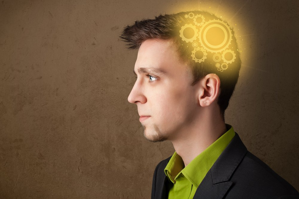Young person thinking with a glowing machine head illustration